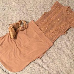 High waisted rounded mini skirt